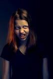 青少年恼怒的女孩 免版税图库摄影