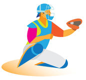 青少年棒球的捕手 免版税图库摄影