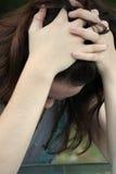 青少年沮丧的女孩 图库摄影