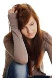 青少年消沉的女孩 库存图片