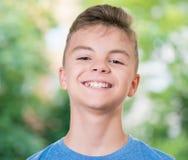 青少年男孩的纵向 免版税库存照片