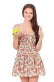青少年的女孩用绿色苹果 库存照片
