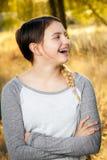 青少年的女孩看起来惊奇 免版税库存照片