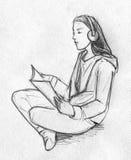 青少年的女孩读书的铅笔sketh 免版税库存图片