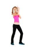 青少年的女孩zumba健身 免版税图库摄影