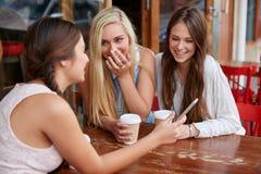 青少年的朋友为咖啡 库存照片