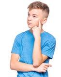 青少年的男孩情感画象  免版税图库摄影