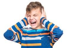 青少年的男孩情感画象  库存图片