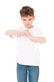 青少年的男孩画象白色的 库存图片