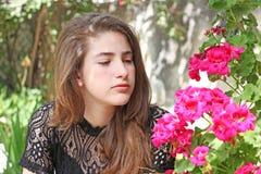 青少年的年龄女孩的画象 图库摄影