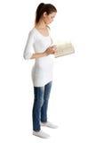 青少年美丽的书的女性 免版税库存图片