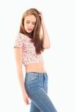 青少年美好的女孩的淫荡 免版税库存照片