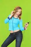 青少年耳机的音乐 库存图片
