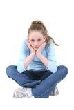 青少年蓝色逗人喜爱的牛仔布的女孩 免版税库存图片