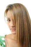 青少年长期女孩的头发 库存照片