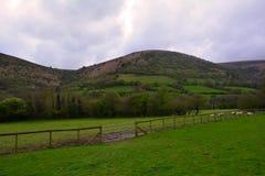 青山和一个农村农场在黑山附近,布雷肯比肯斯山,威尔士,英国 免版税库存照片