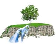 青山岩石结构树瀑布 库存图片