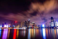 青岛地平线Nightview  免版税图库摄影