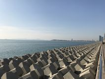 青岛海岸线  图库摄影