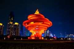青岛,中国, 22-09-2015 5月4日广场( 吴思Guangchang) 免版税库存图片