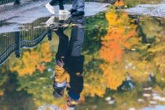 青年人在秋天公园 在水坑的反射 黄色树和叶子 愉快的年轻家庭观念 免版税库存图片