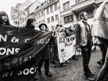 青年人教育处于在法国招贴的危险中在抗议 免版税库存图片