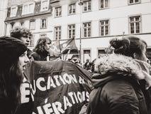 青年人教育处于在法国招贴的危险中在抗议 免版税图库摄影