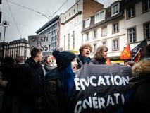 青年人教育处于在法国招贴的危险中在抗议 库存图片