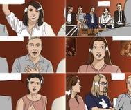 青年人画象有讲话泡影的 库存例证