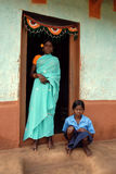 青年期女孩农村的印度 免版税库存照片