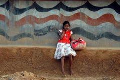 青年期女孩农村的印度 库存照片