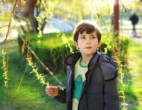 青春期前的英俊的男孩Thoutful画象春天公园bac的 库存照片