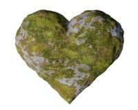 青苔隐蔽灰色石心脏,浪漫形状的生苔岩石 图库摄影