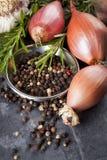 青葱、干胡椒、大蒜和罗斯玛丽 免版税库存照片