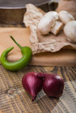 青葱蘑菇和辣椒 免版税库存图片