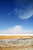 青藏高原的冻湖 免版税库存照片