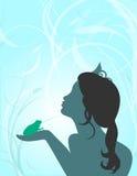 青蛙亲吻公主 库存照片