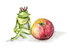 青蛙公主和红色苹果 库存例证