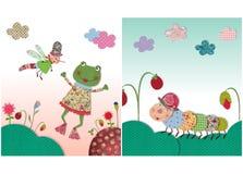 青蛙和蠕虫 免版税库存照片