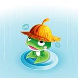 青蛙在雨中 向量例证