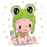 青蛙帽子的逗人喜爱的动画片男婴 库存图片