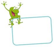 青蛙快乐的标签 库存图片
