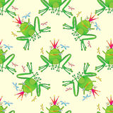 青蛙手拉的无缝的样式 库存图片