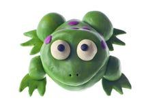 青蛙滑稽的彩色塑泥 库存照片