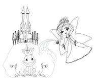 青蛙王子漫画人物和美丽的神仙 库存图片