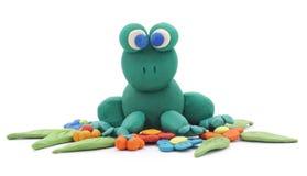 青蛙由黏土制成 免版税库存照片