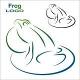 青蛙的商标 颜色和黑白版本 免版税库存照片
