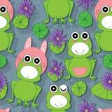 青蛙莲花无缝的样式 免版税库存照片