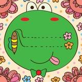 青蛙蜂卡片线框架无缝的样式 皇族释放例证