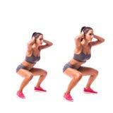 青蛙跳跃锻炼 做体育锻炼的少妇 库存照片